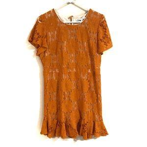 Mustard lace mini dress